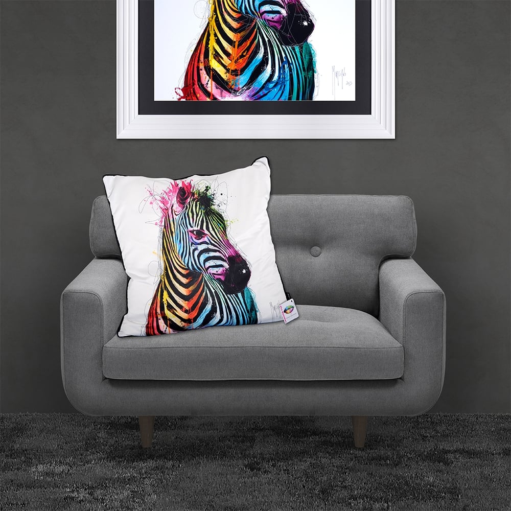 Patrice Murciano Licensed 55cm Luxury Feather Filled Cushion Zebra Pop