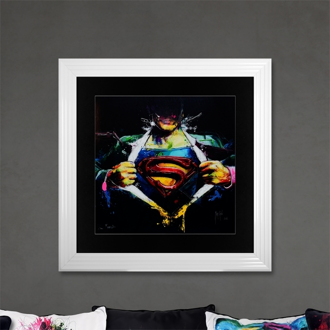 Patrice Murciano Superman Limited Edition Framed Liquid Artwork Signed with Limited Edition Number