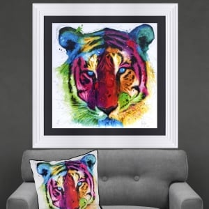 Patrice Murciano Tiger Framed Artwork 90cm x 90cm