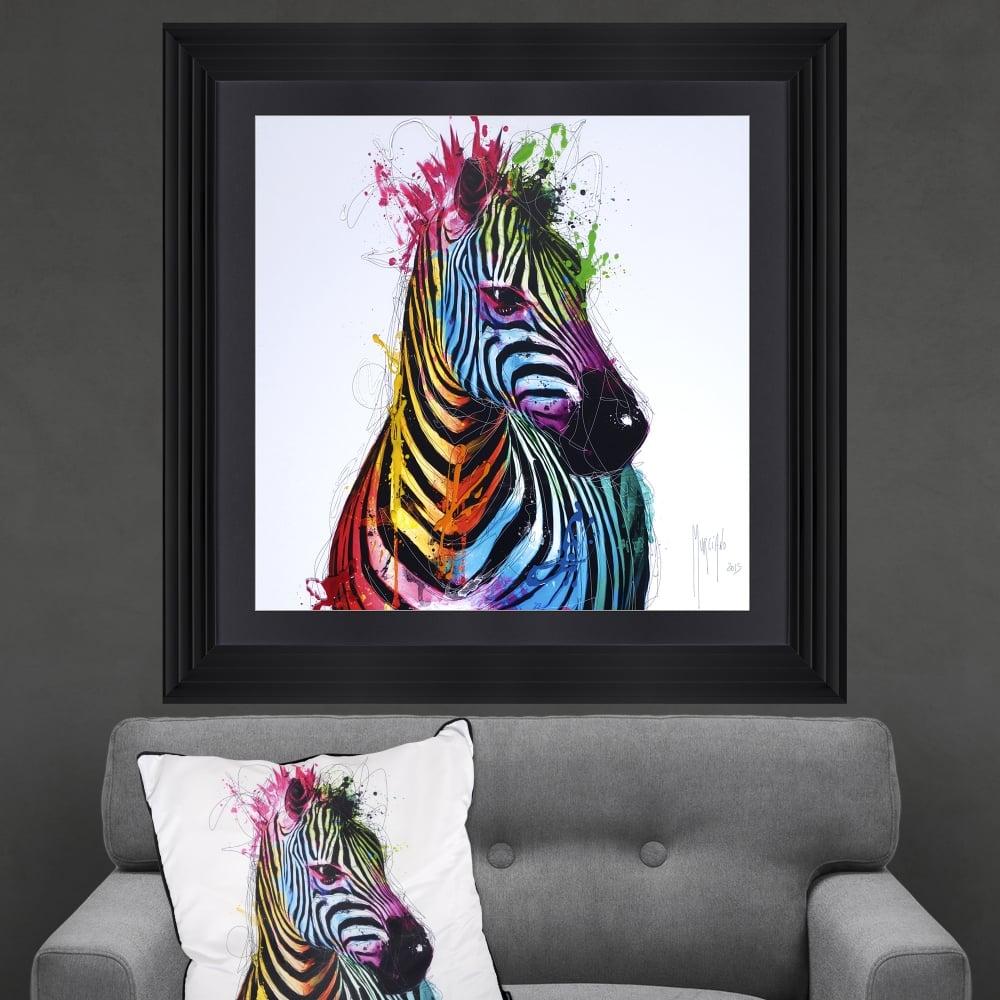 Patrice Murciano Zebra Framed Artwork 90cm x 90cm