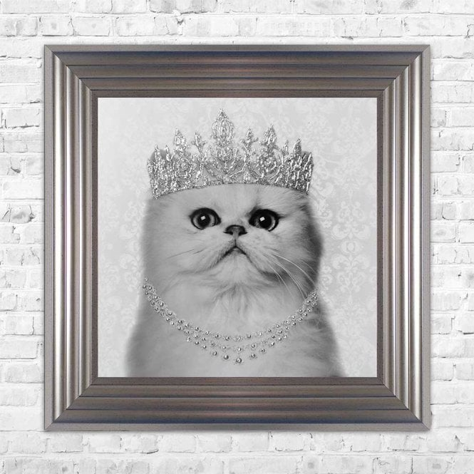 PERSIAN CAT WITH CROWN FRAMED WALL ART