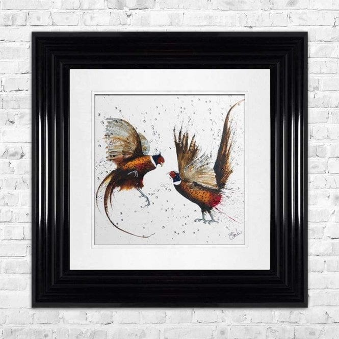 PHEASANTS - HAND PAINTED WITH PHEASANT FEATHERS FRAMED WALL ART