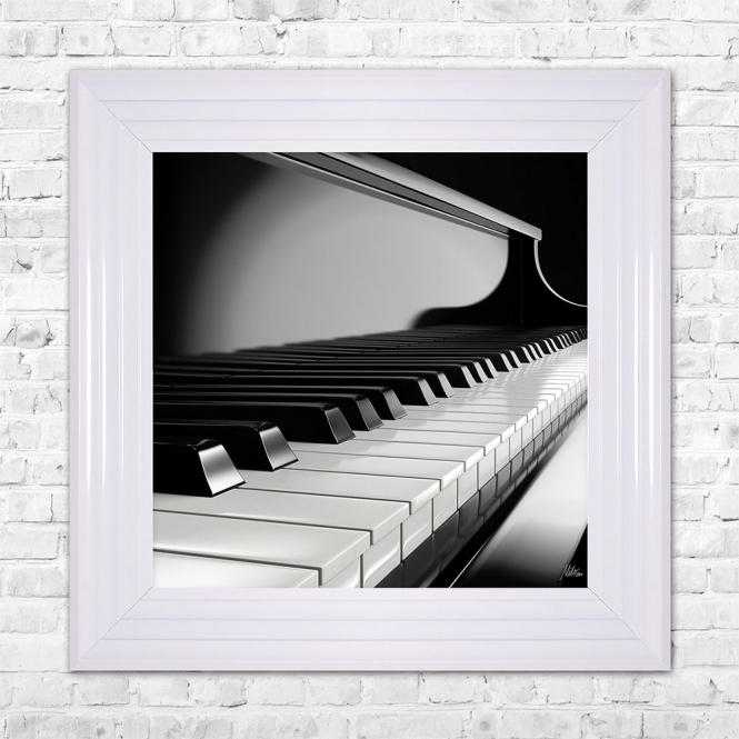 SHH Interiors PIANO Print Framed Artwork | 55cm x 55cm Black and White
