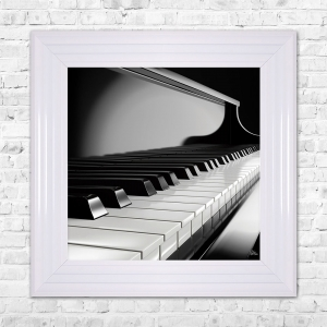 PIANO Print Framed Artwork | 55cm x 55cm Black and White