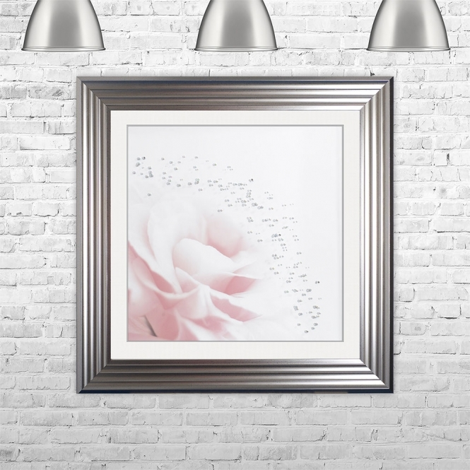 SHH Interiors PINK FLOWER 1 Framed Liquid Artwork and Swarovski Crystals | 75cm x 75cm