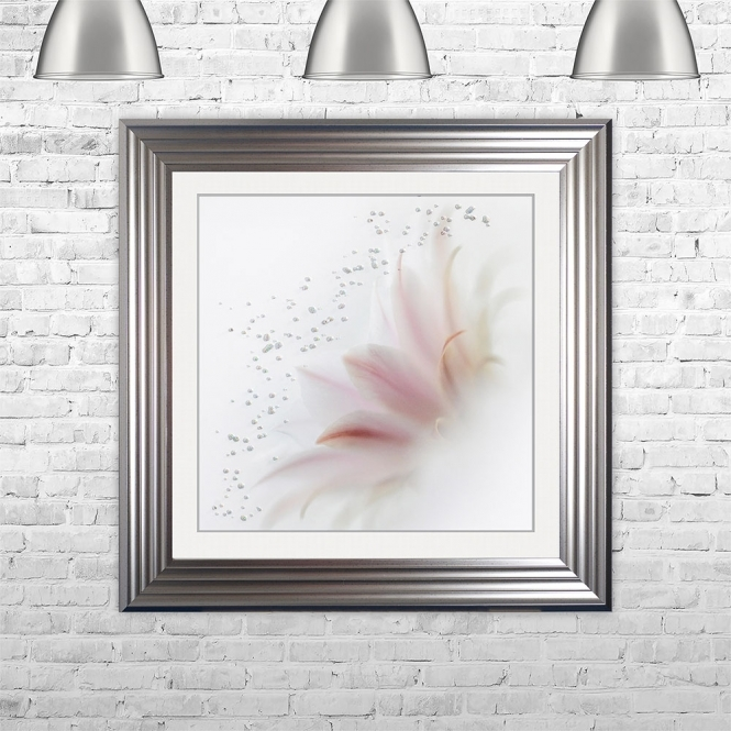 SHH Interiors PINK FLOWER 2 Framed Liquid Artwork and Swarovski Crystals | 75cm x 75cm
