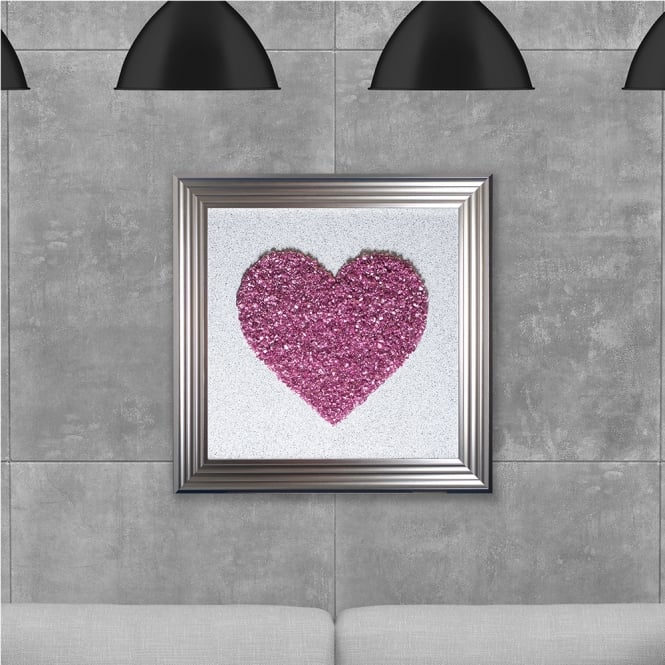 SHH Interiors Pink Heart Cluster Hand Made with Liquid Glass and Swarovski Crystals 75 x 75 cm