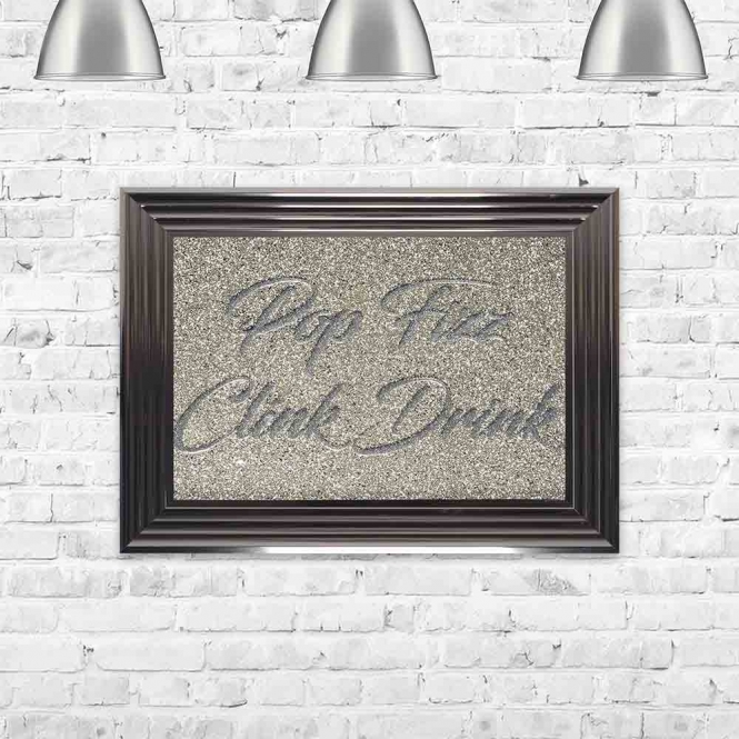 POP FIZZ CLINK DRINK GLITTER TYPOGRAPHY FRAMED WALL ART