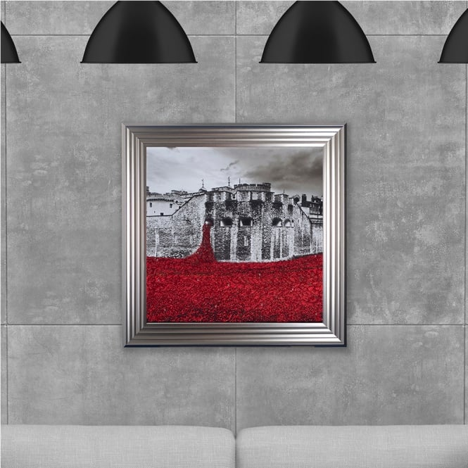 SHH Interiors Poppy Field Hand Made with Liquid Glass and Swarovski Crystals 75 x 75 cm