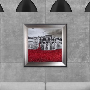 Poppy Field Hand Made with Liquid Glass and Swarovski Crystals 75 x 75 cm
