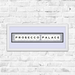 Prosecco Palace Silver Glitter Background Framed Playing Cards