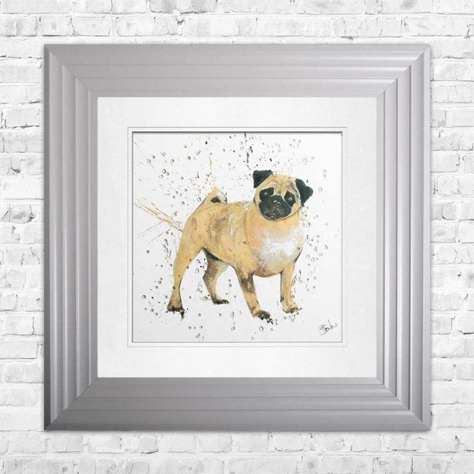 PUG - HAND PAINTED WITH PHEASANT FEATHERS FRAMED WALL ART