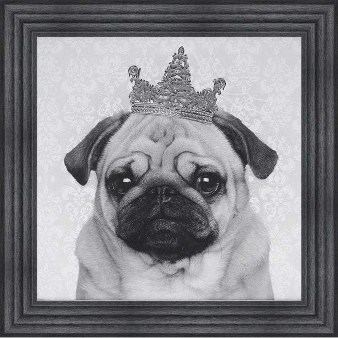 PUG WITH CROWN FRAMED WALL ART