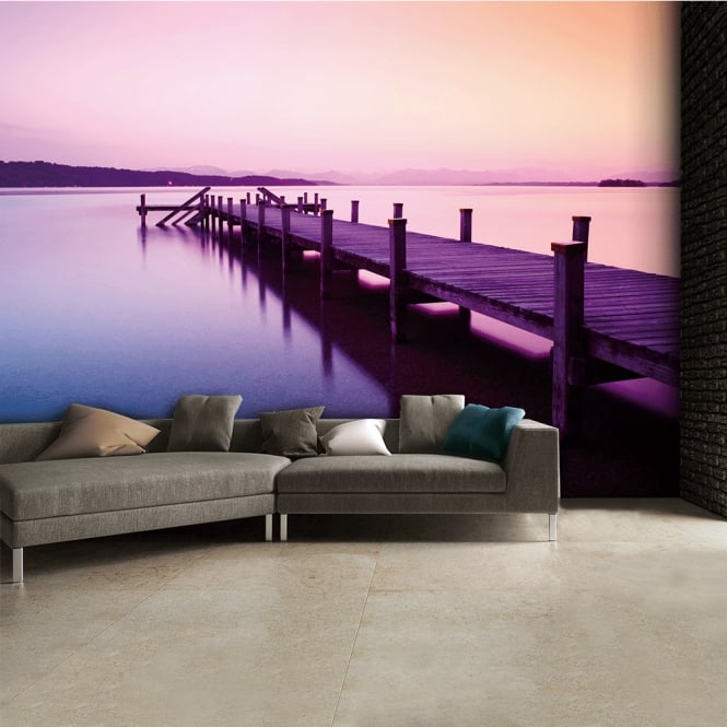 1Wall Purple Jetty Lake Wall Mural | 315cm x 232cm