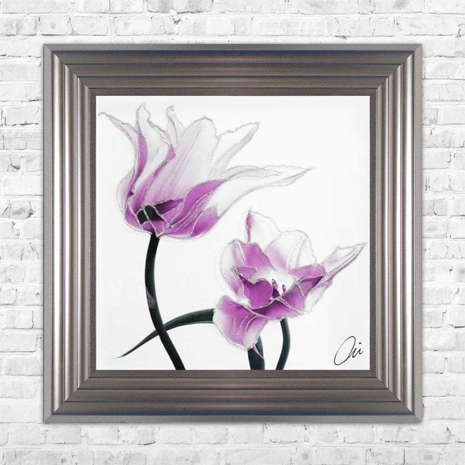 PURPLE TULIPS FRAMED WALL ART