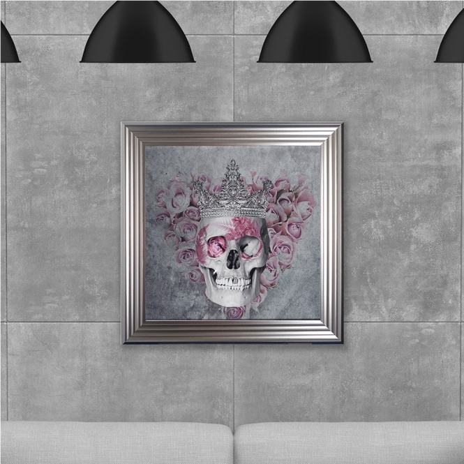 SHH Interiors Queen Skull Print Hand Made with Liquid Glass and Swarovski Crystals 75 x 75 cm Summer Sale