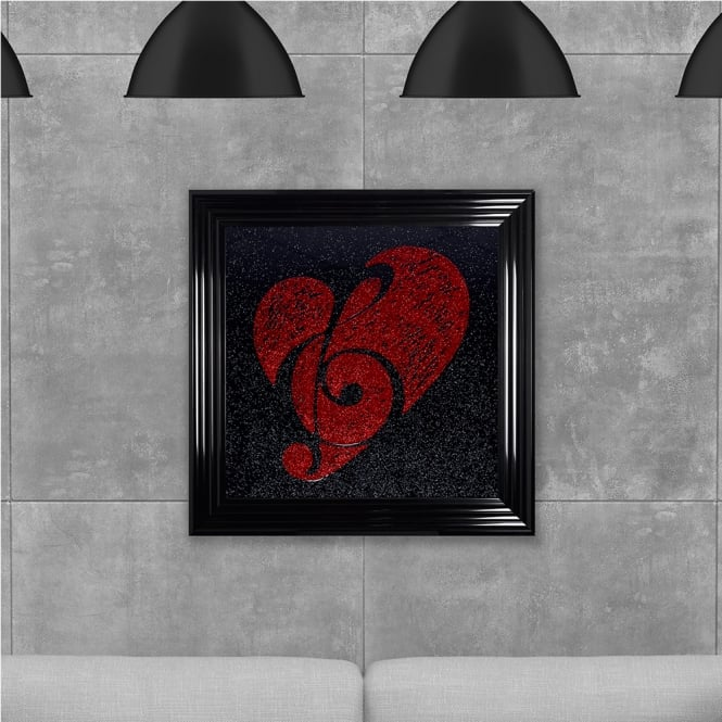 SHH Interiors Red Cleff and Heart Hand Made with Liquid Glass and Swarovski Crystals 75 x 75 cm