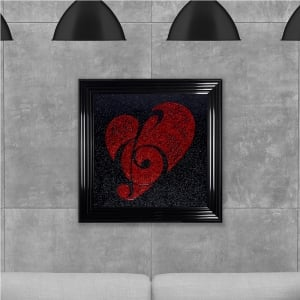 Red Cleff and Heart Hand Made with Liquid Glass and Swarovski Crystals 75 x 75 cm