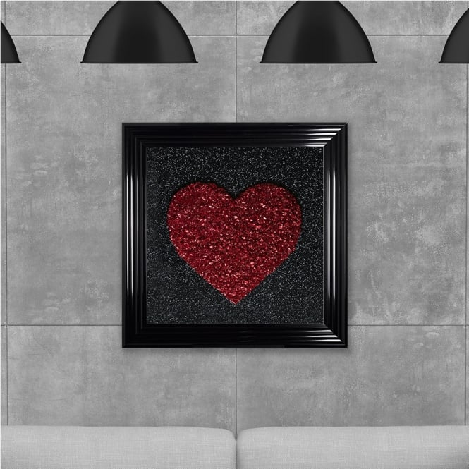 SHH Interiors Red Heart Cluster Hand Made with Liquid Glass and Swarovski Crystals 75 x 75 cm