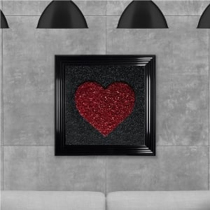 Red Heart Cluster Hand Made with Liquid Glass and Swarovski Crystals 75 x 75 cm