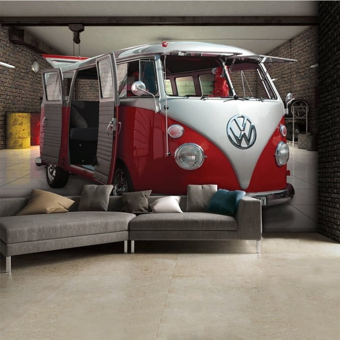 1Wall Red Volkswagen Campervan Wall Mural | 315cm x 232cm