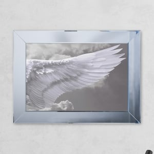 Right Wing Cloud Print Mirror with Liquid Glass and Swarovski Crystals 54 x 74 cm
