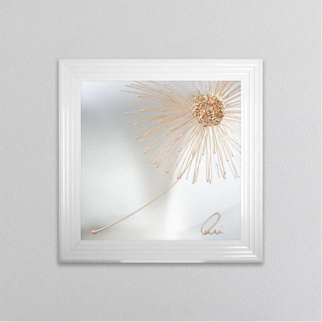Shh Interiors Rose Gold Crushed Glass Dandelion Blowing Right On Mirror Framed Wall Art 1wall