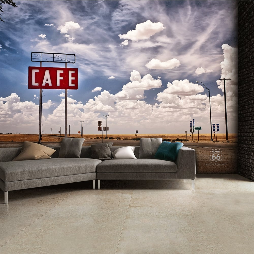 route66 feel the freedom cafe road wall mural 315cm x 232cm route 66 feel the freedom cafe road wall mural 315cm x 232cm