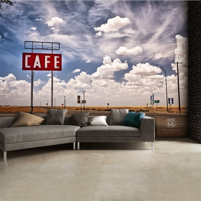 1Wall Route 66 Feel The Freedom Café Road Wall Mural | 315cm x 232cm