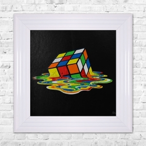 RUBICKS CUBE Framed Liquid Artwork