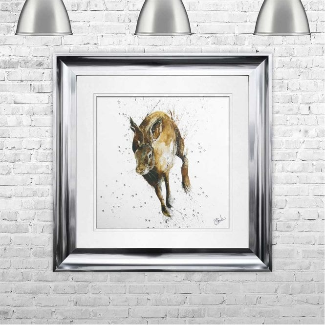 RUNNING HARE - HAND PAINTED WITH PHEASANT FEATHERS FRAMED WALL ART