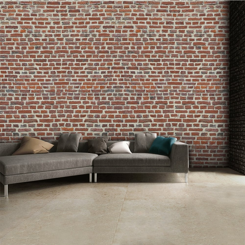 Rustic red brick wall wallpaper mural 315cm x 232cm for Brick wall mural