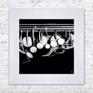 SAXOPHONE Print Framed Artwork | 55cm x 55cm Black and White