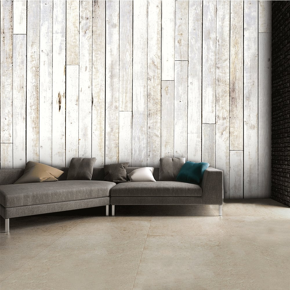 Wood Wall Mural chic coloured wooden panel wall mural | 315cm x 232cm