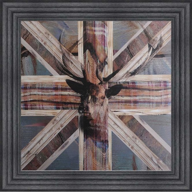SHABBY CHIC STAG FRAMED WALL ART