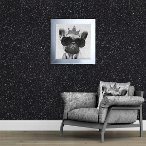 140cm Wide- Black Glitter Fabric Wall Covering