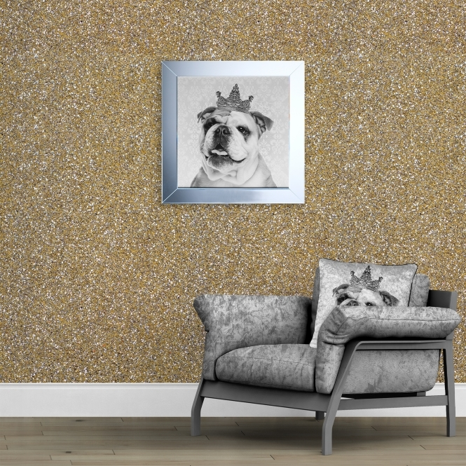 SHH Interiors 140cm Wide- Champagne Glitter Fabric Wall Covering