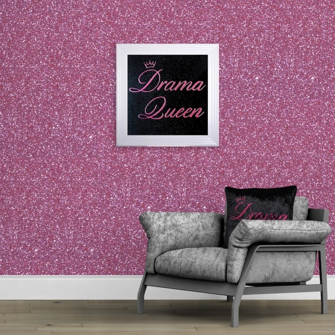 SHH Interiors 140cm Wide- Pink Glitter Fabric Wall Covering