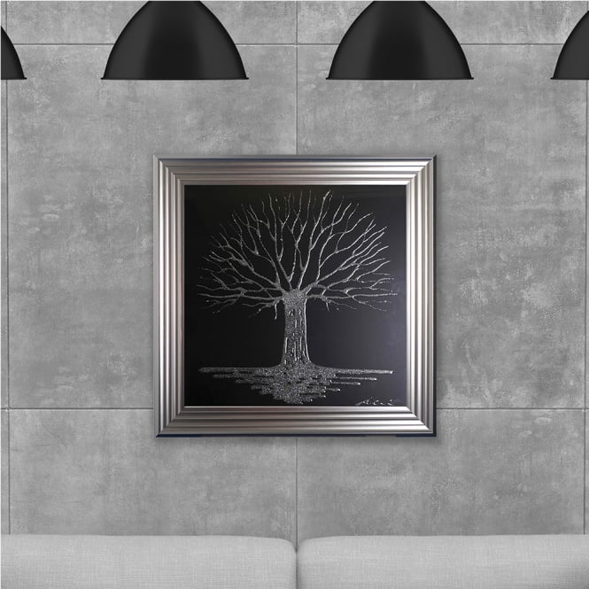 SHH Interiors 75 x 75 cm Framed Glitter Silver Tree Black Background - Hand embellished with liquid glass and Swarovski crystals