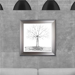 75 x 75 cm Framed Glitter Silver Tree White Background - Hand embellished with liquid glass and Swarovski crystals