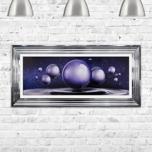 Abstract Orbs in Ultra Violet Glitter Liquid Art Framed Artwork 115cm x 55cm