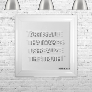 ART IS A LIE THAT MAKES US REALIZE THE TRUTH | FRAMED 3D TEXT ARTWORK | 75cm x 75cm