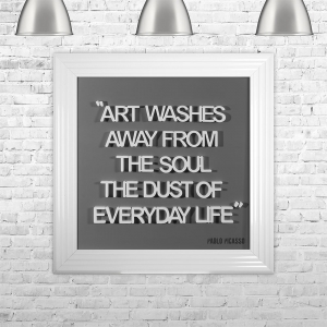 ART WASHES AWAY FROM THE SOUL THE DUST OF EVERYDAY LIFE| FRAMED 3D TEXT ARTWORK | 75cm x 75cm