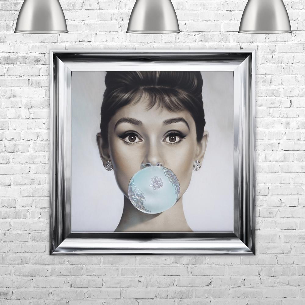 Audrey Hepburn Blowing Bubble Gum Framed Liquid Artwork and ...