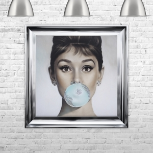 Audrey Hepburn Blowing Bubble Gum Framed Liquid Artwork and Swarovski Crystals