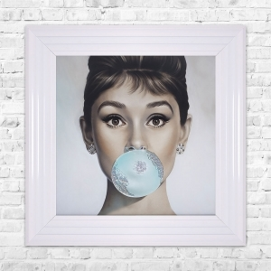 Audrey Hepburn Blowing Gum Framed Liquid Artwork and Swarovski Crystals