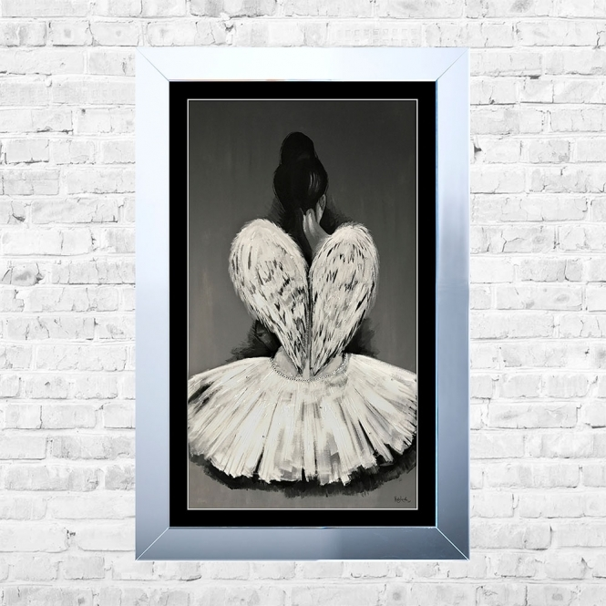 SHH Interiors Ballerina Black Mount Framed Liquid Artwork and Swarovski Crystals