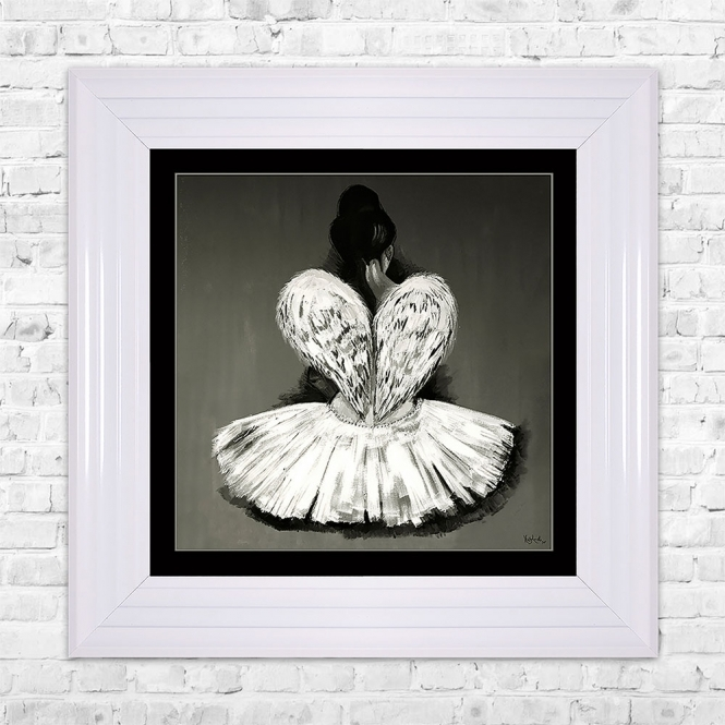 SHH Interiors BALLERINA Black Mount Print Framed Liquid Artwork and Swarovski Crystals