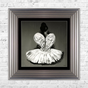 BALLERINA Black Mount Print Framed Liquid Artwork and Swarovski Crystals