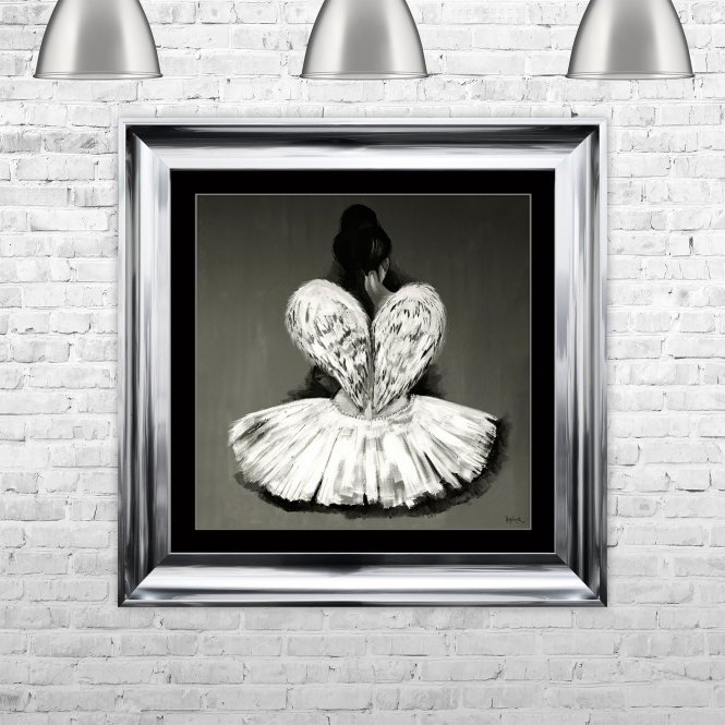 SHH Interiors Ballerina Hand Painted Wall Art Framed Liquid Artwork and Swarovski Crystals